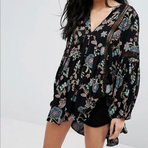 """Free People Floral """"Just The Two Of Us"""" Tunic XS"""